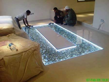 10 Diy Adding Glass Flooring With Pebble In Your Home