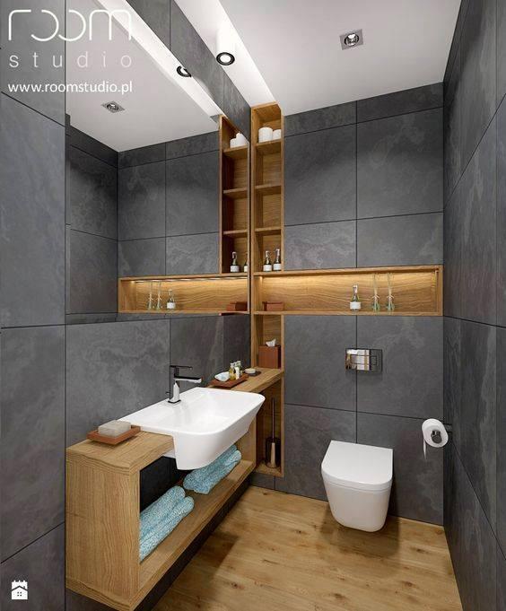 #11 Grey Bathroom With Mid Toned Wood
